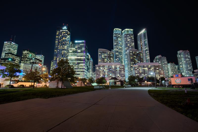 Toronto downton at night. Toronto downtown at night from the train museum stock photos
