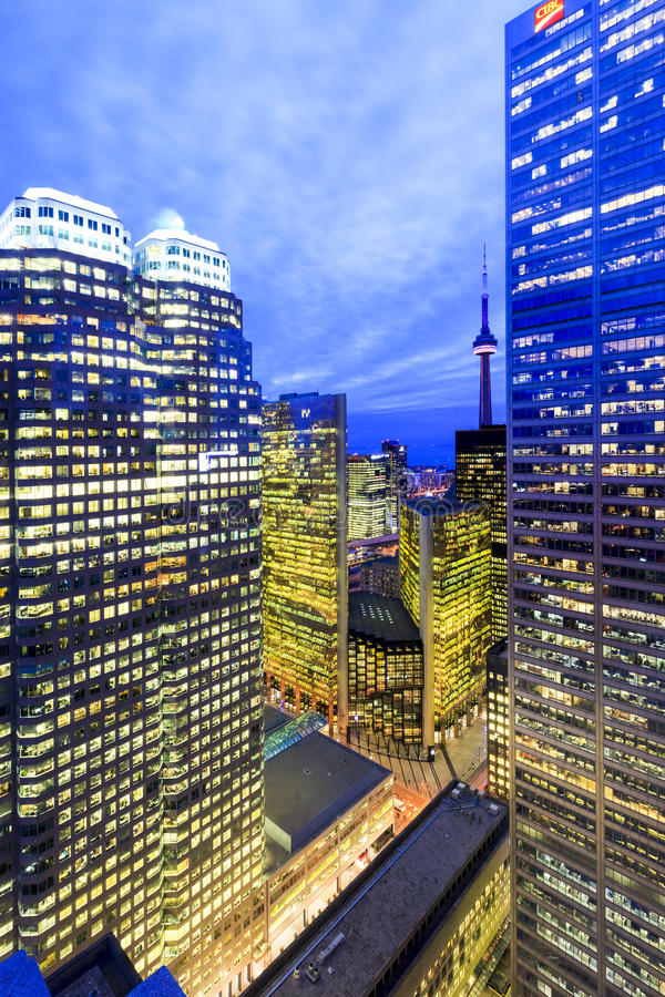 Toronto Downtown Core at night. TORONTO CANADA 5.FEB. 2016:Aerial view of Toronto Downtown Core at night. Toronto is the most populous city in Canada and the royalty free stock image