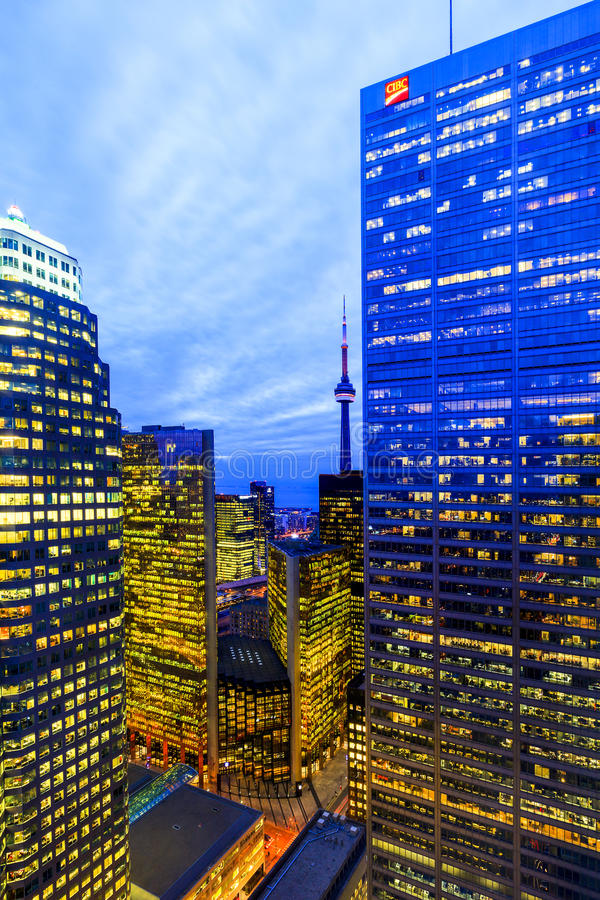 Toronto Downtown Core at night. TORONTO CANADA 5.FEB. 2016:Aerial view of Toronto Downtown Core at night. Toronto is the most populous city in Canada and the stock photography