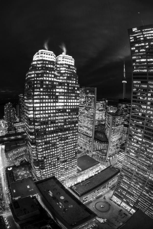 Toronto Downtown Core at night. TORONTO CANADA 5.FEB. 2016:Aerial view of Toronto Downtown Core at night. Toronto is the most populous city in Canada and the royalty free stock photos