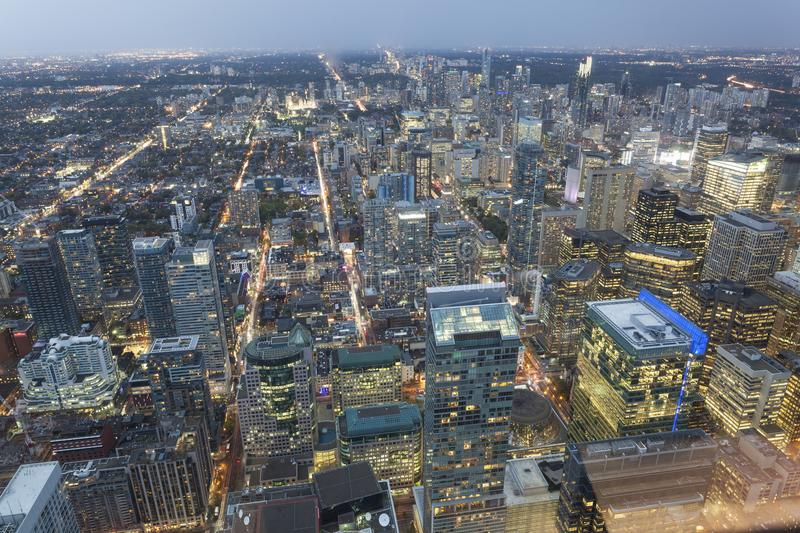 Toronto downtown at night. High angle view over the downtown of Toronto at night. Province of Ontario, Canada stock photography