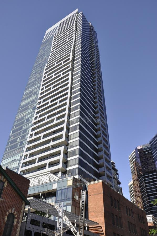 Toronto, el 24 de junio: Edificios céntricos en la calle de Yonge por noche de Toronto de la provincia de Ontario en Canadá imagen de archivo libre de regalías