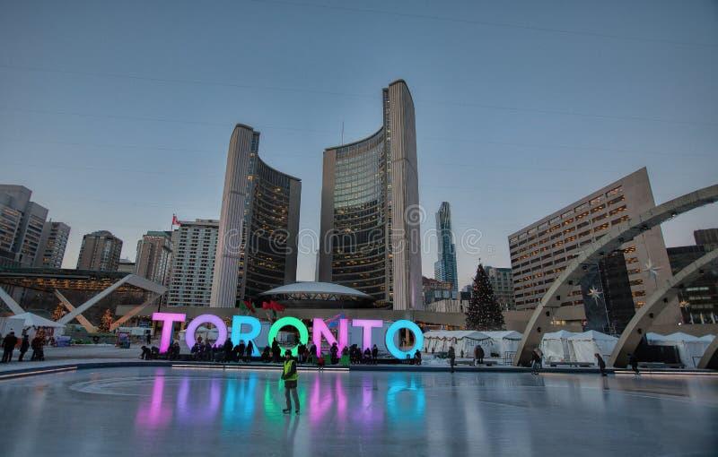 Toronto encendido una tarde a finales de diciembre fotografía de archivo