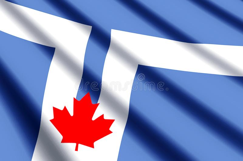 Toronto flag colorful waving and closeup flag illustration. Perfect for texture and background royalty free illustration