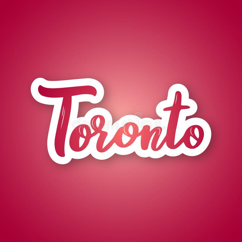 Toronto - handwritten name of the Canadian city. Sticker with lettering in paper cut style. Vector design template royalty free illustration