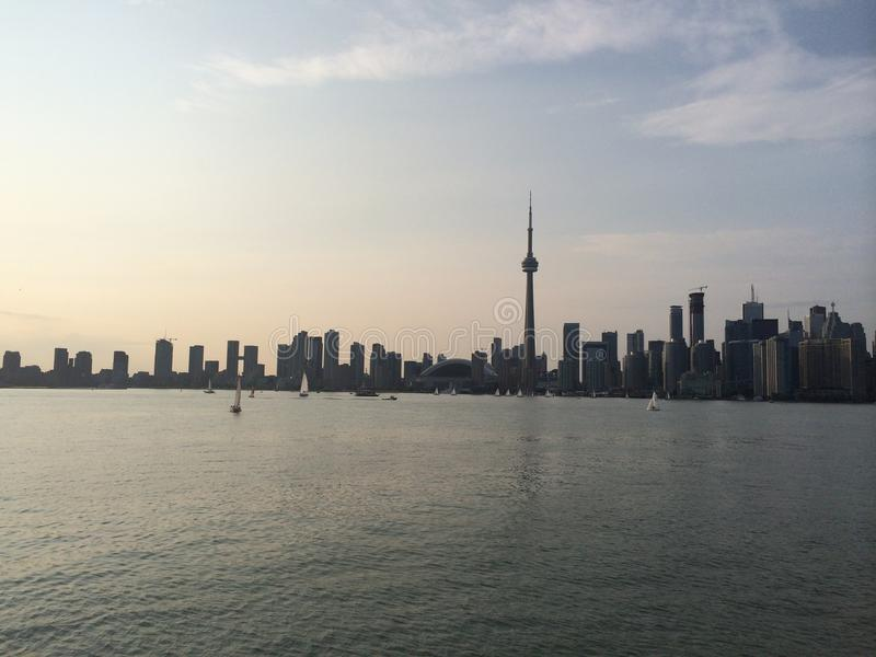 Toronto i stadens centrum Kanada solnedgång arkivbild