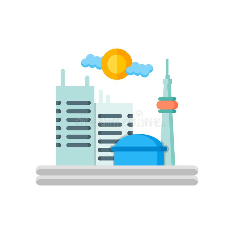 Toronto icon vector sign and symbol isolated on white background. Toronto icon vector isolated on white background for your web and mobile app design, Toronto royalty free illustration