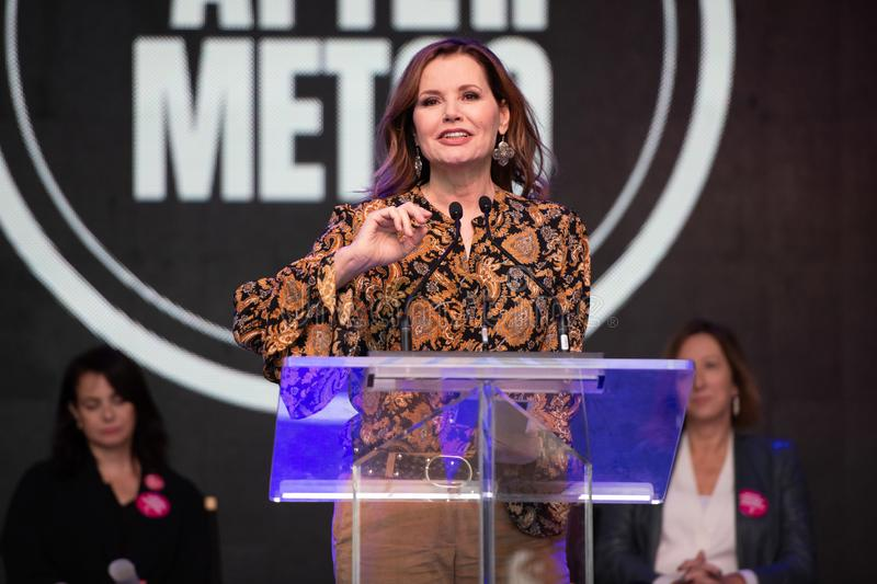 Toronto International Film Festival TIFF 2018, Canada. Toronto, Canada-September 8, 2018: Geena Davis at the #ShareHerJourney Rally. Celebrities attending this royalty free stock image