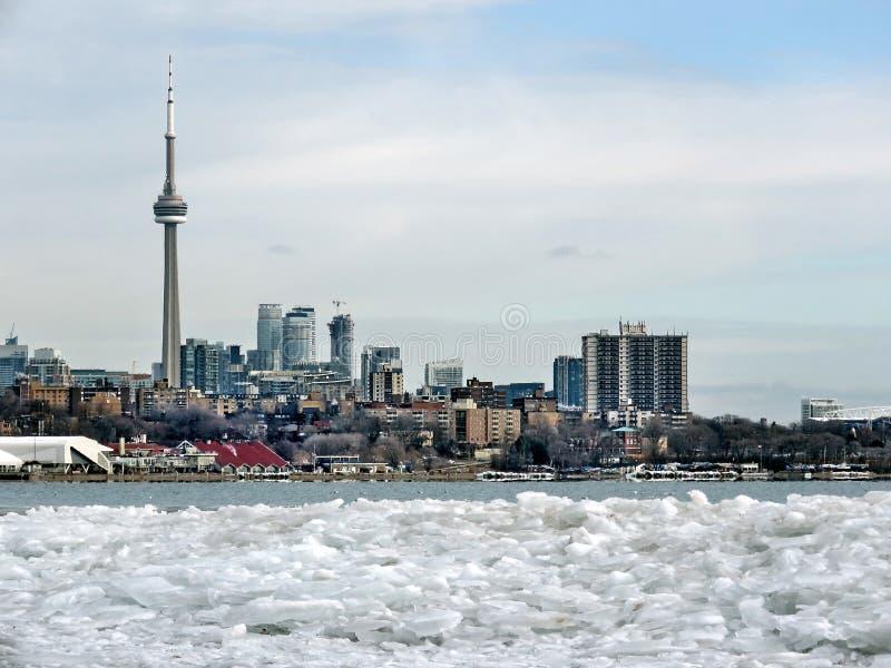 Toronto jeziora lód 2018 i panorama obraz royalty free