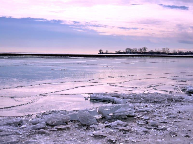 Toronto jezioro zima krajobraz 2018 fotografia royalty free