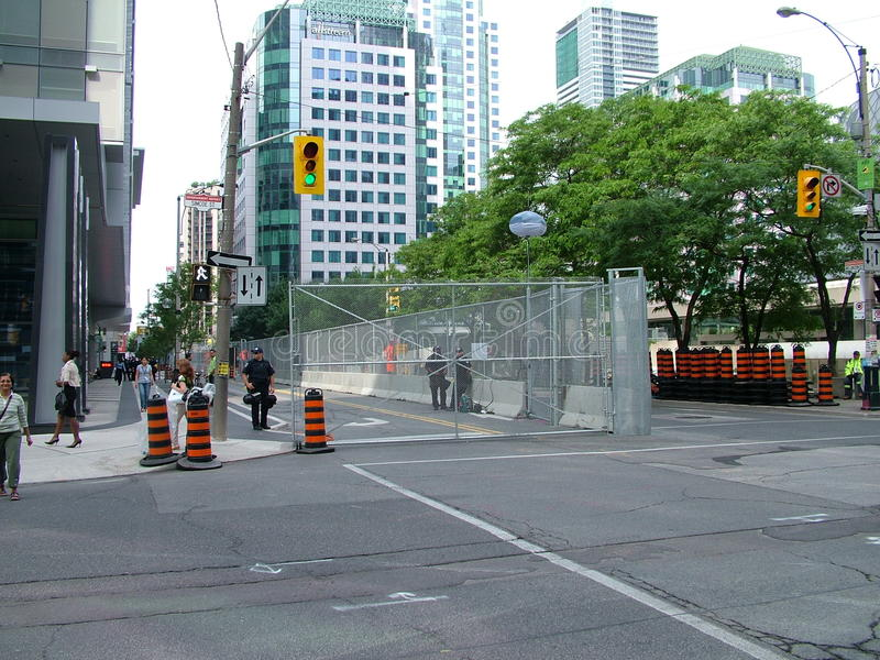 TORONTO - JUNE 23, 2010 - The police barricades around the Metro Convention Center during the G20 protests in Toronto, Ontario, Ca. The security measures that royalty free stock images