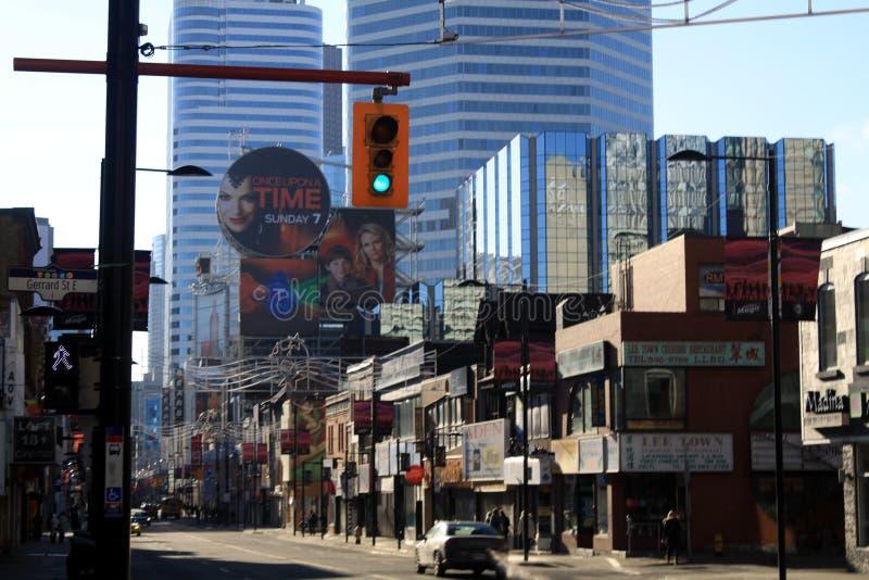 TORONTO KANADA - JANUARI 8 2012: Cityscape av centrala Toronto fotografering för bildbyråer