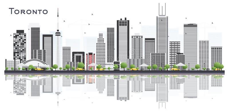 Toronto Kanada miasta linia horyzontu z kolorów odbiciami i budynkami ilustracji