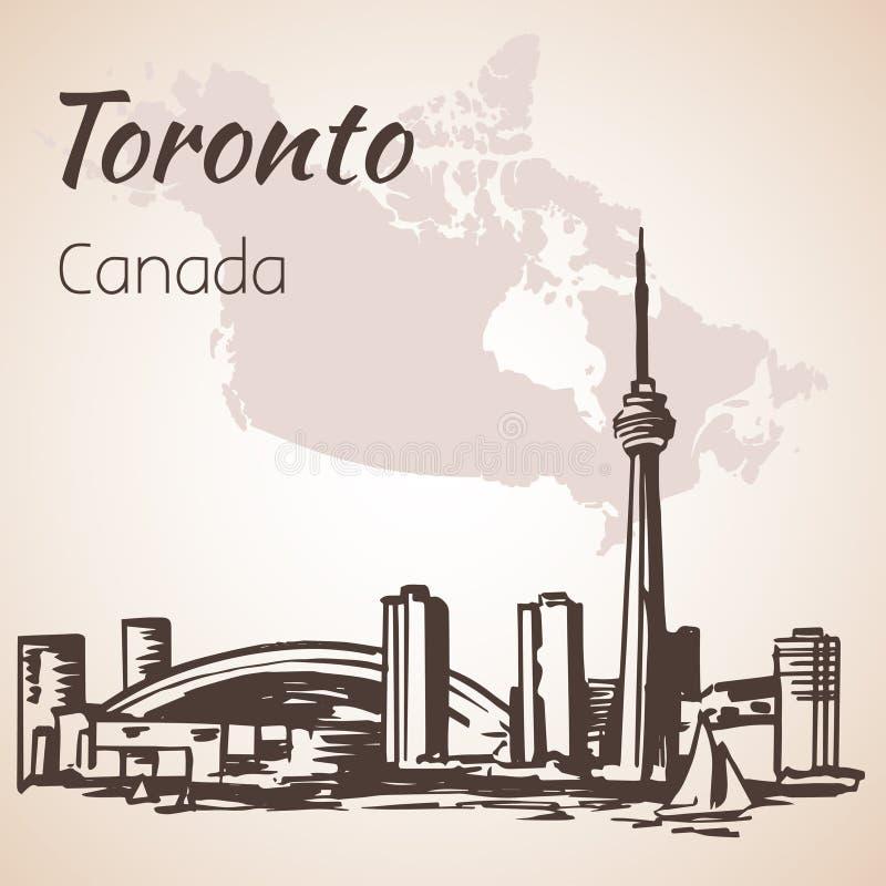 Toronto, Kanada sityscape blisko linii brzegowej ilustracja wektor