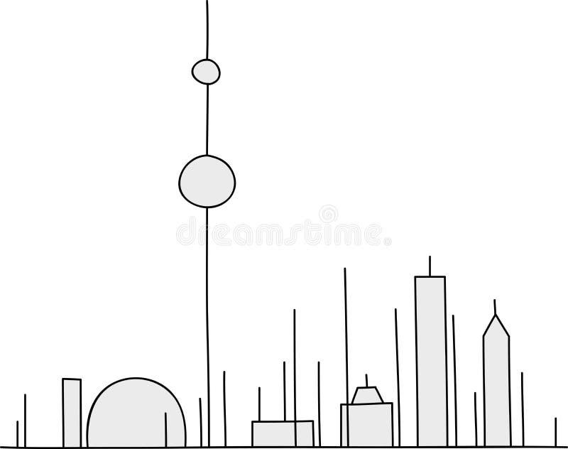 Toronto kija postaci linia horyzontu ilustracja wektor