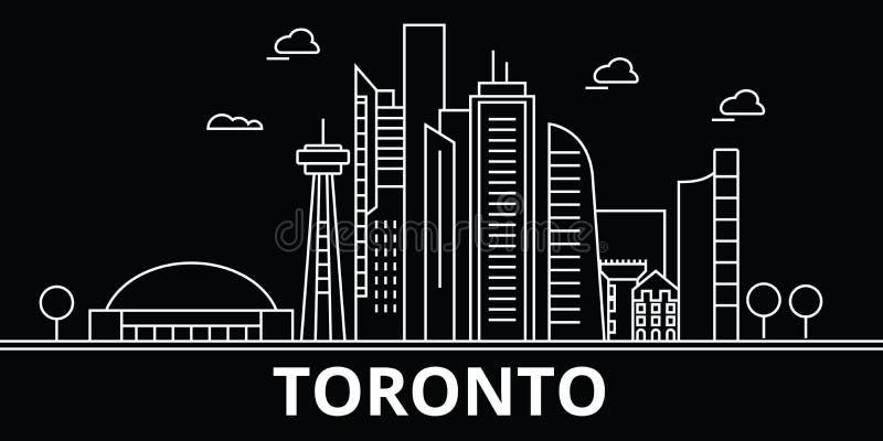 Toronto konturhorisont Kanada - Toronto vektorstad, kanadensisk linjär arkitektur, byggnader Toronto lopp stock illustrationer