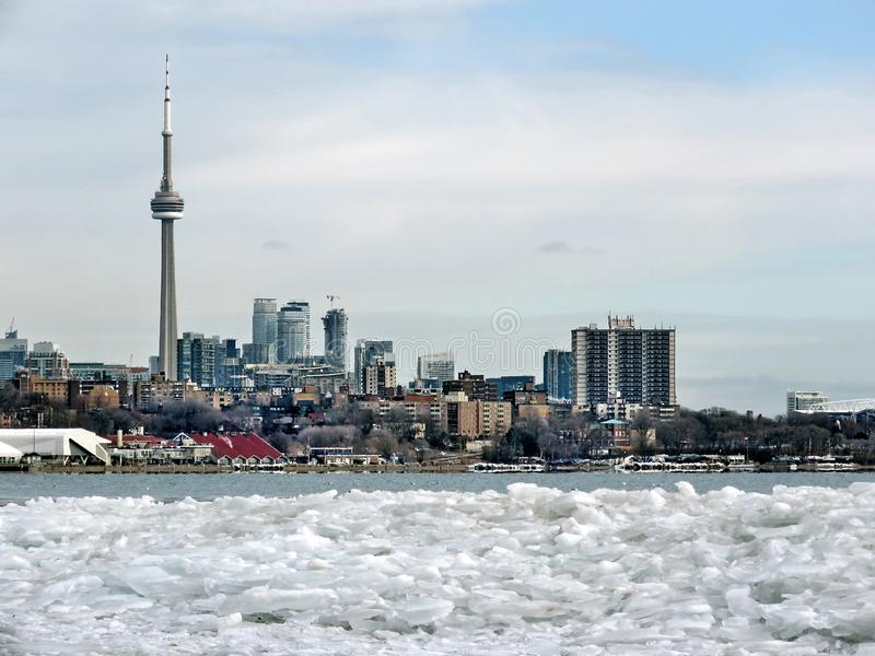 Toronto Lake ice and panorama 2018 royalty free stock image