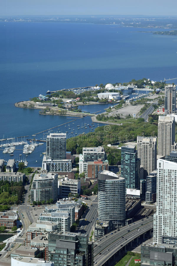 Toronto and Lake Ontario, Canada from CN Tower royalty free stock photo