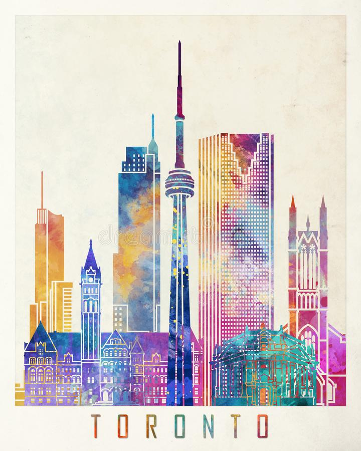 Toronto landmarks watercolor poster stock illustration