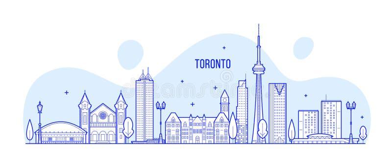 Toronto linia horyzontu Kanada miasta duzi budynki wektorowi ilustracja wektor
