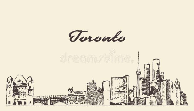 Toronto linia horyzontu Kanada r?ka rysuj?cy wektorowy nakre?lenie ilustracji