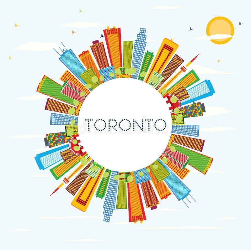 Toronto linia horyzontu z kolorów budynkami, niebieskim niebem i kopii przestrzenią, royalty ilustracja