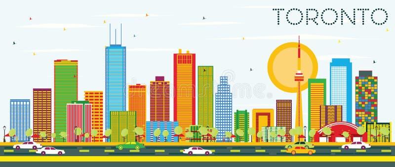 Toronto linia horyzontu z koloru niebieskim niebem i budynkami ilustracji