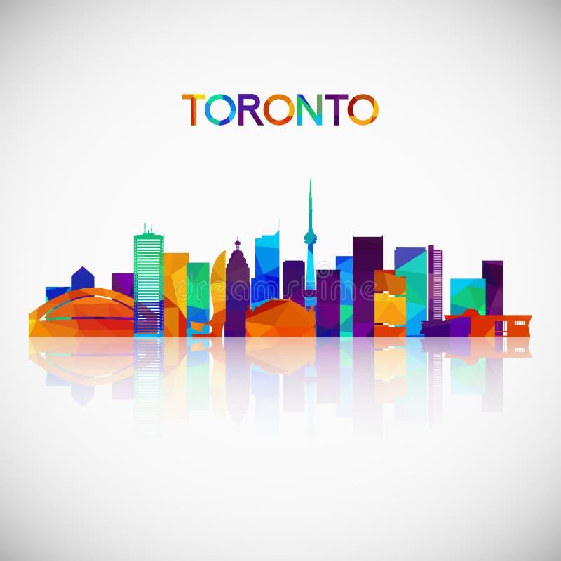 Toronto linii horyzontu sylwetka w kolorowym geometrycznym stylu ilustracji