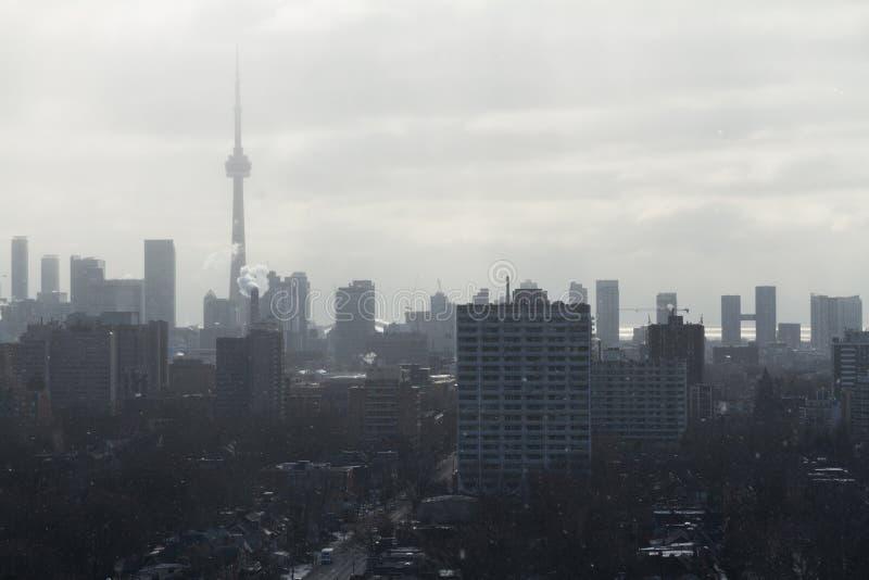 Toronto linii horyzontu widok od Casa Loma snowing obraz stock
