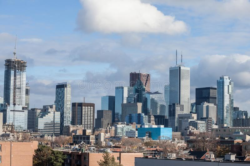 Toronto skyline, with the iconic towers and buildings of the Downtown and the CBD business skyscrapers taken from afar. Toronto is the main city of Ontario and royalty free stock photo