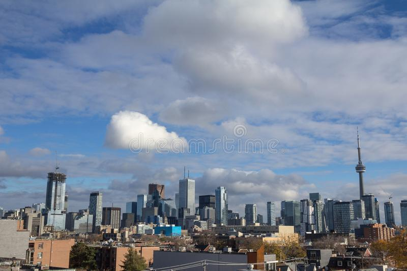Toronto skyline, with the iconic towers and buildings of the Downtown and the CBD business skyscrapers taken from afar. Toronto is the main city of Ontario and royalty free stock images
