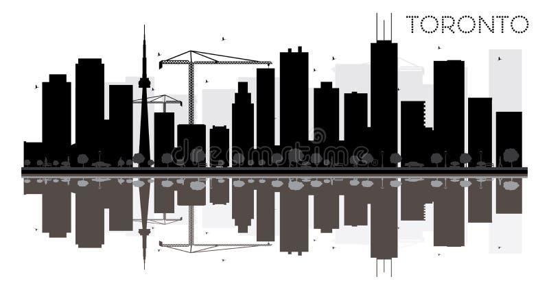 Toronto miasta linii horyzontu czarny i biały sylwetka z odbiciami royalty ilustracja