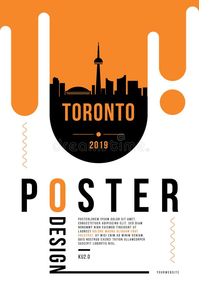 Toronto Modern Poster Design with Vector Linear Skyline vector illustration
