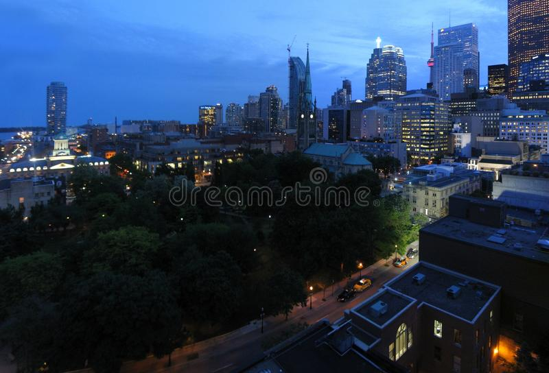 Toronto by night. Aerial image of Downtown Area of Toronto, Canada, by night royalty free stock photo