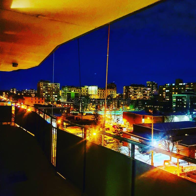 Toronto night life. Neon, winter stock photography