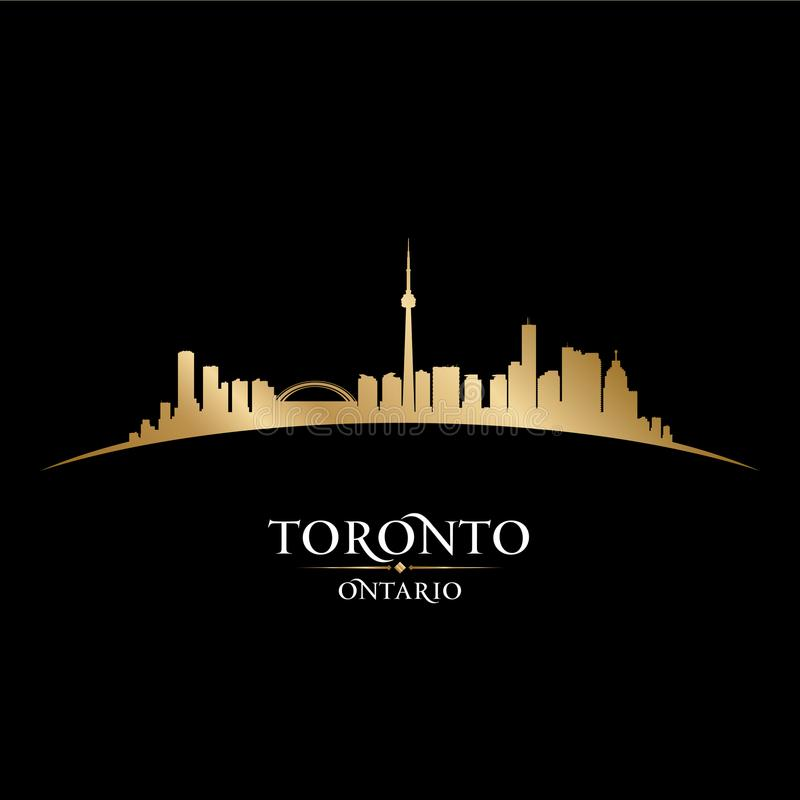 Toronto Ontario Canada city skyline silhouette black background vector illustration