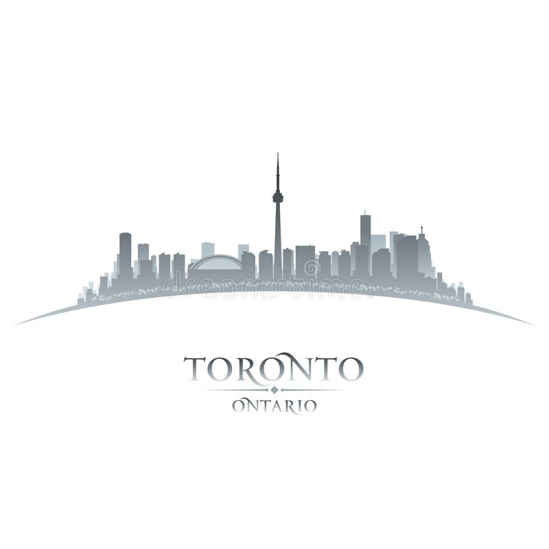 Toronto Ontario Canada city skyline silhouette white background stock illustration