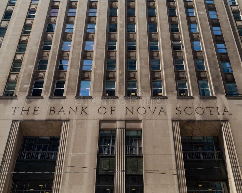 Toronto, Ontario/Canada - 20 juillet 2018 : Banque de rue de Nova Scotia Head Office King photographie stock libre de droits
