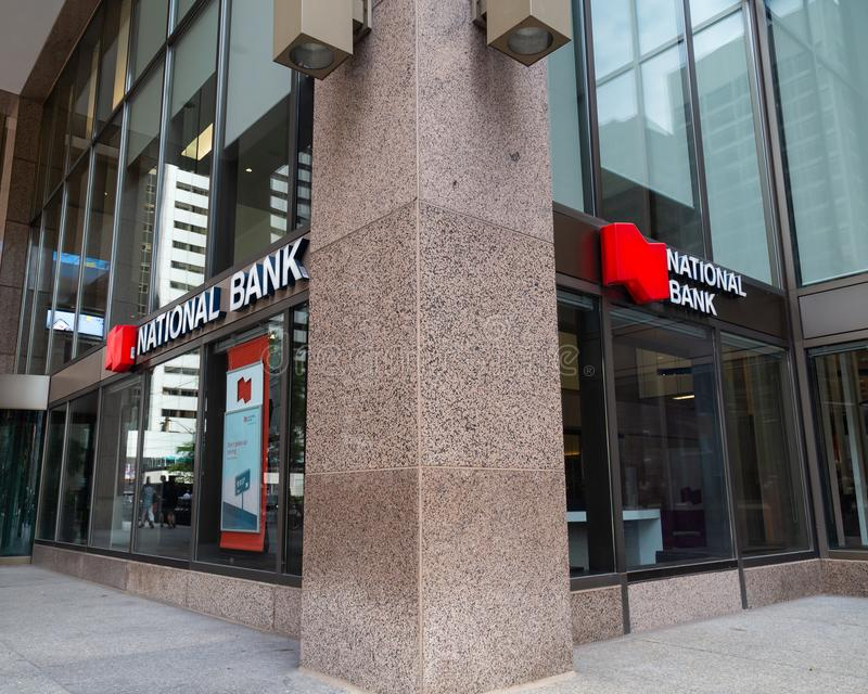 Toronto, Ontario/Canada - July 20 2018: National Bank Head Office Toronto Sign Signage Logo Sidewalk royalty free stock photography
