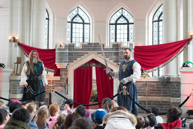 Toronto, Ontario/ Canada- March 13 2018: Imagine Dragon March Break at Casa Loma. Knight School at a castle. stock photography