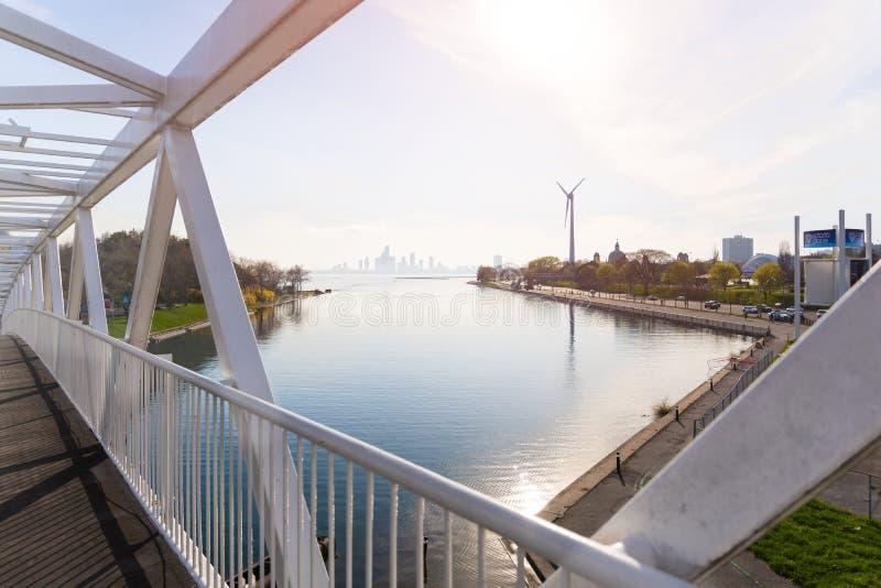Toronto, Ontario, Canada - Mei 17, 2019: De turbine van Toronto WindShare ExPlace op Tentoonstellingsplaats royalty-vrije stock fotografie