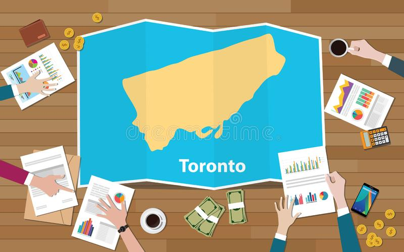 Toronto ontario city region economy growth with team discuss on fold maps view from top. Toronto ontario canadian city region economy growth with team discuss on vector illustration