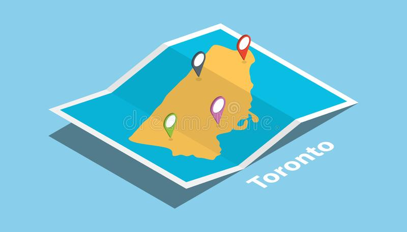 Toronto ontario province explore maps with isometric style and pin location tag on top. Vector illustration vector illustration