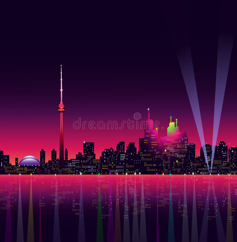 Toronto på natten - vektorillustration royaltyfri illustrationer