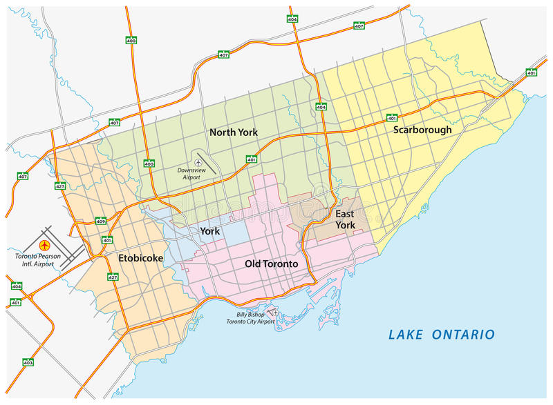 Toronto road and administrative map vector illustration