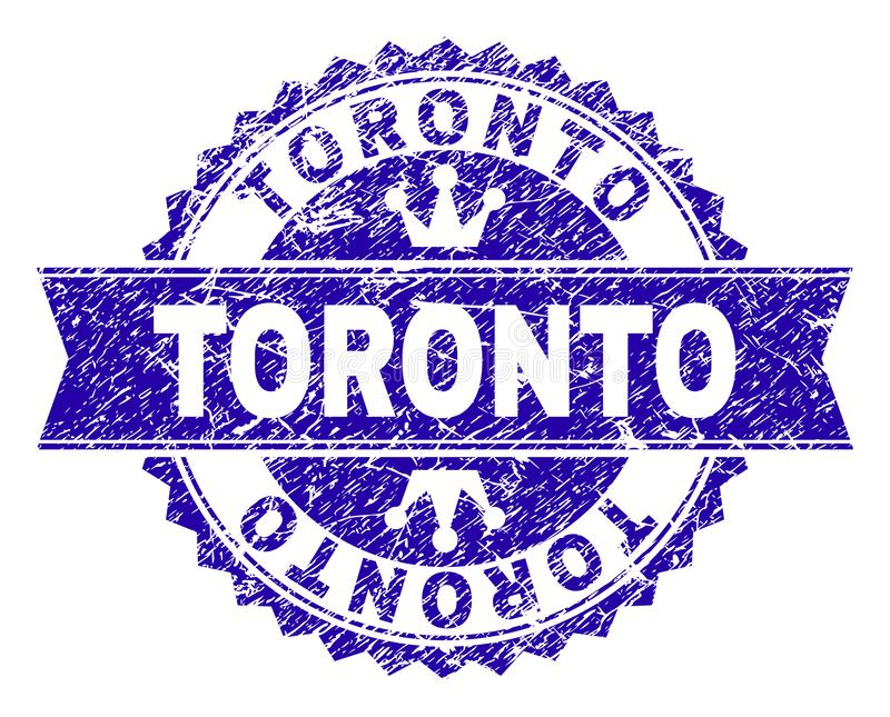 Grunge Textured TORONTO Stamp Seal with Ribbon. TORONTO rosette stamp watermark with grunge style. Designed with round rosette, ribbon and small crowns. Blue vector illustration