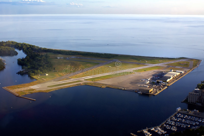 Toronto's Island Airport. Commuter airport located on an island just offshore of downtown Toronto, Canada royalty free stock photography