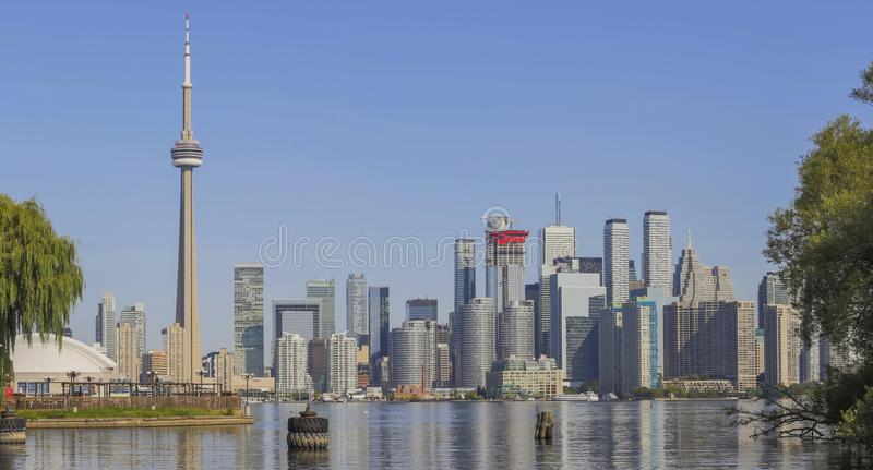 Toronto`s skyline over Lake Ontario stock image
