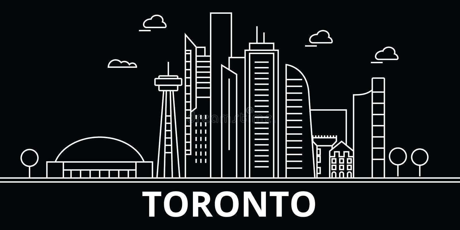 Toronto silhouette skyline. Canada - Toronto vector city, canadian linear architecture, buildings. Toronto travel stock illustration
