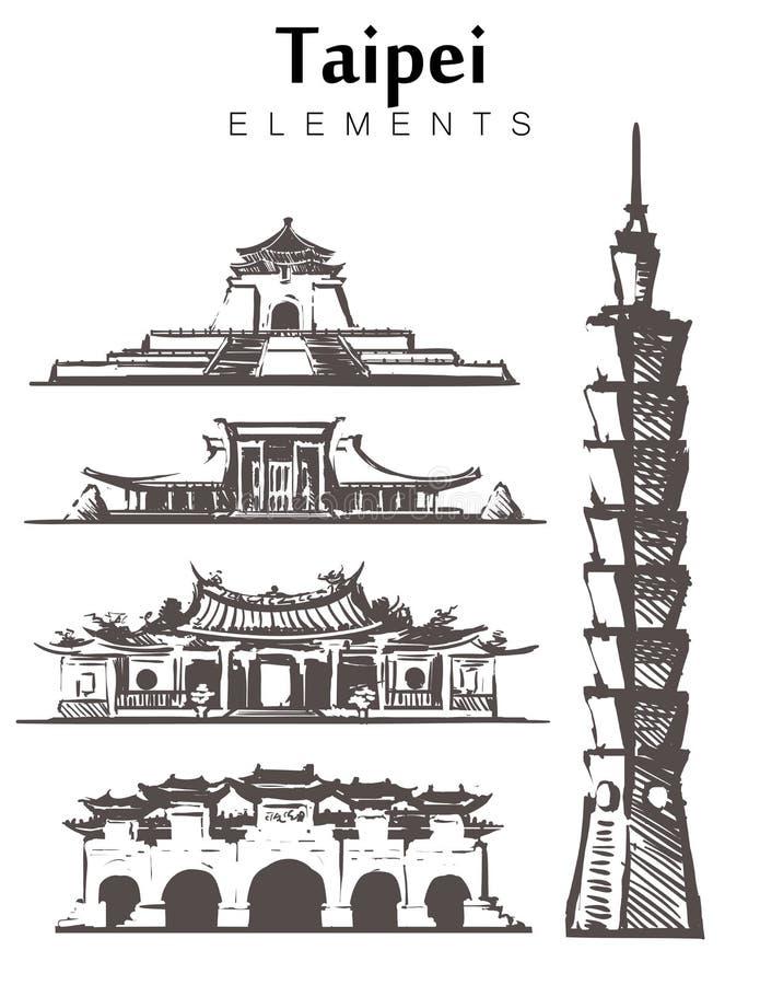 Toronto sketch skyline. Canada, Toronto set hand drawn vector illustration. Isolated on white background stock illustration